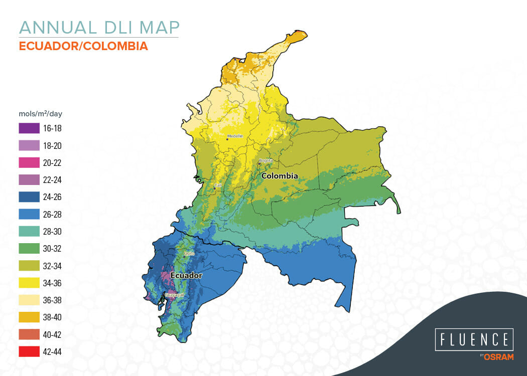 Annual DLI map of Ecuador and Colombia showing light distribution for greenhouse growing